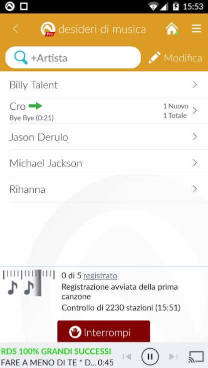 Ricerca cantante, artista, gruppo, brano con Audials Radio Pro