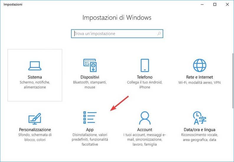 Disinstallare software windows 10 da Impostazioni