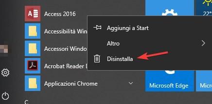Disinstallare programmi windows 10 da Start