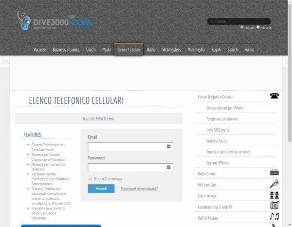 servizio elenco telefonico cellulari dive3000