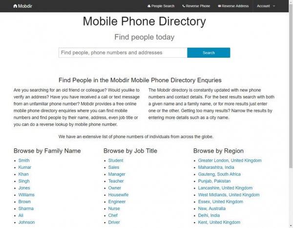 directory di numeri di telefono
