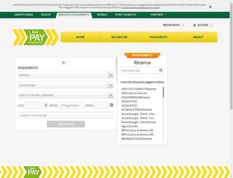SisalPay per bollette online