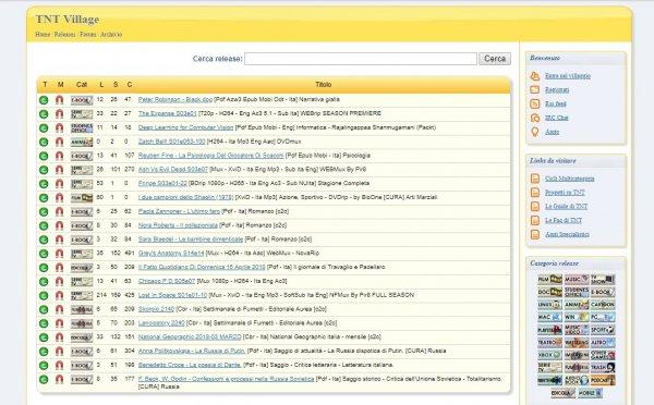 interfaccia per scaricare torrent da TNT Village