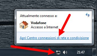 apri connessioni di rete windows 7