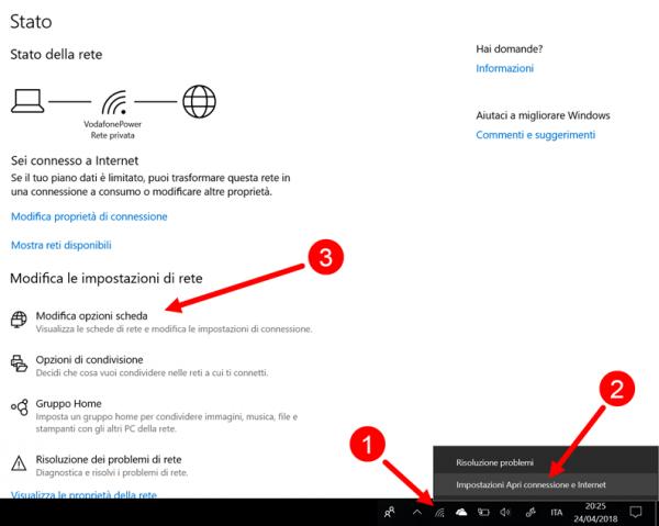 impostazioni di rete e connessione windows 10