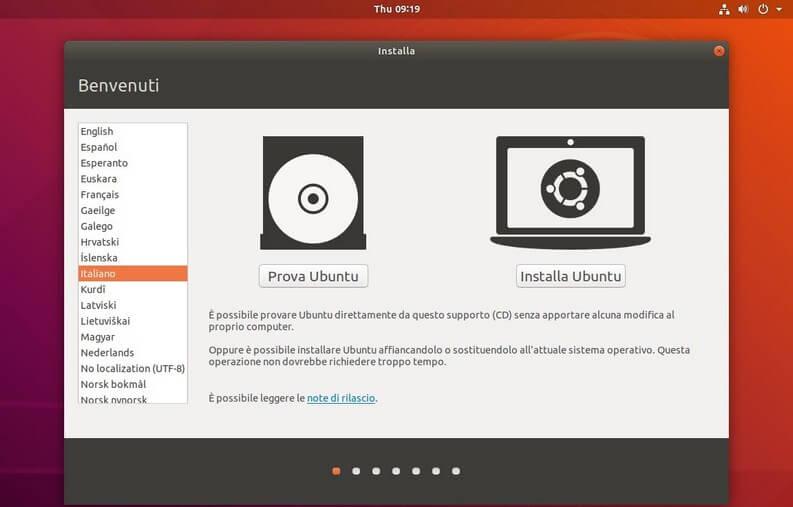 Avvio Ubuntu ISO