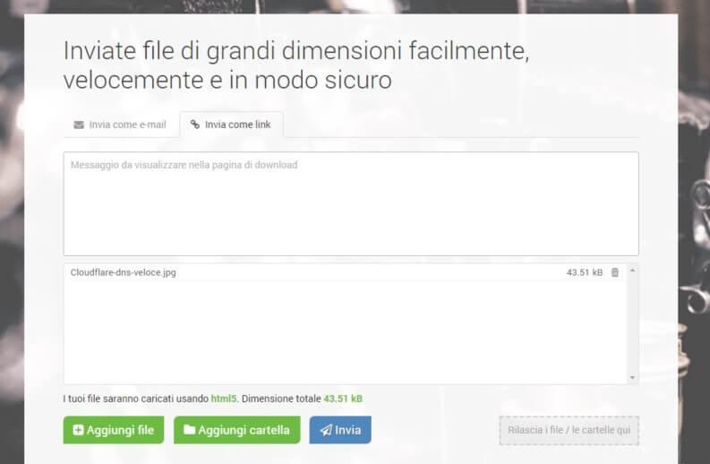 Inviare file: FileMail