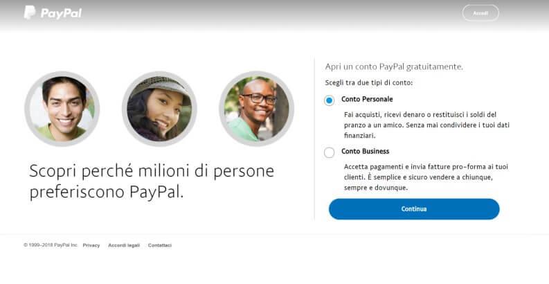 PayPal: registrazione