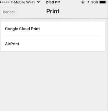 Stampa iPhone con Google Print