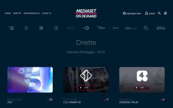 mediaset diretta streaming estero