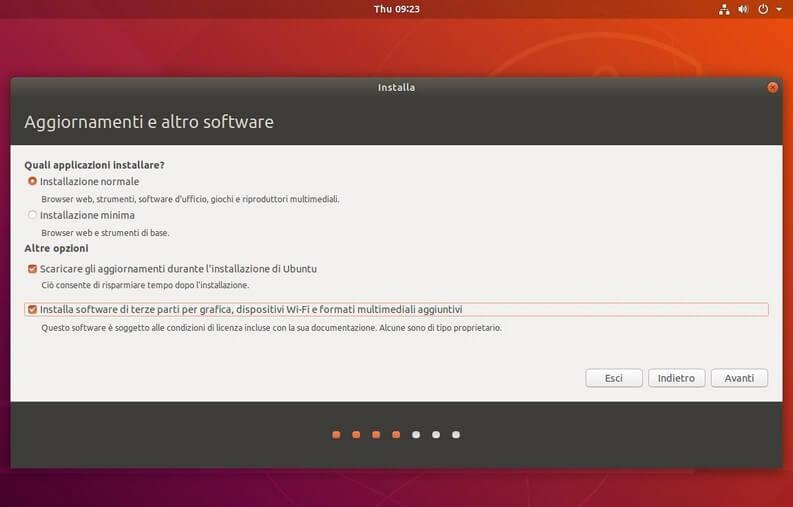 Tipo di installazione e aggiornamenti di ubuntu