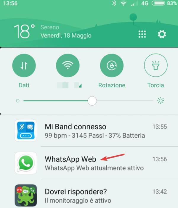WhatsApp notifica Web
