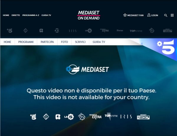 Vedere in streaming i canali Mediaset all'estero