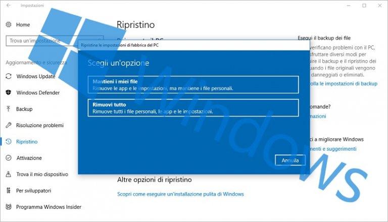 Come reinstallare o ripristinare Windows e mantenere i dati personali