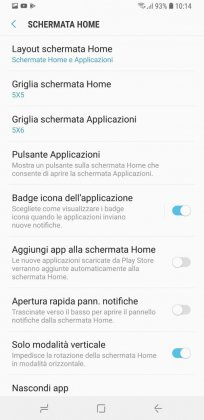 schermata home samsung s9 plus