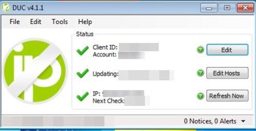 DUC per aggiornare indirizzo ip