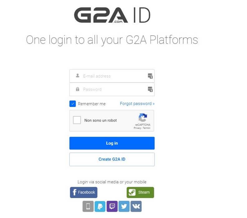 G2A ID login profilo