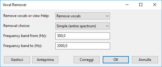 Menu vocal remover