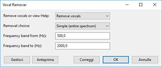 Menu vocal remover