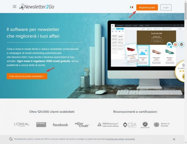 Newsletter2Go registrazione