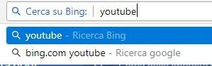 esempio di Ricerca con bing usando motore personalizzato