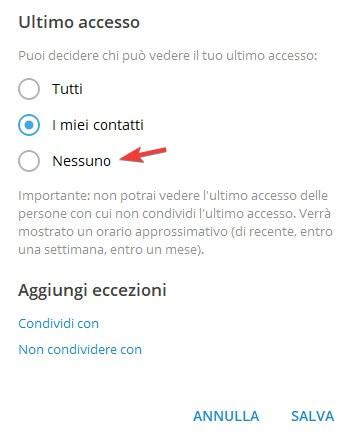 Ultimo accesso Telegram PC