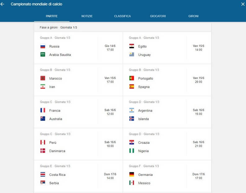 Mondiali Calendario.Mondiali 2018 Calendario Partite Con Date Orari E Dove