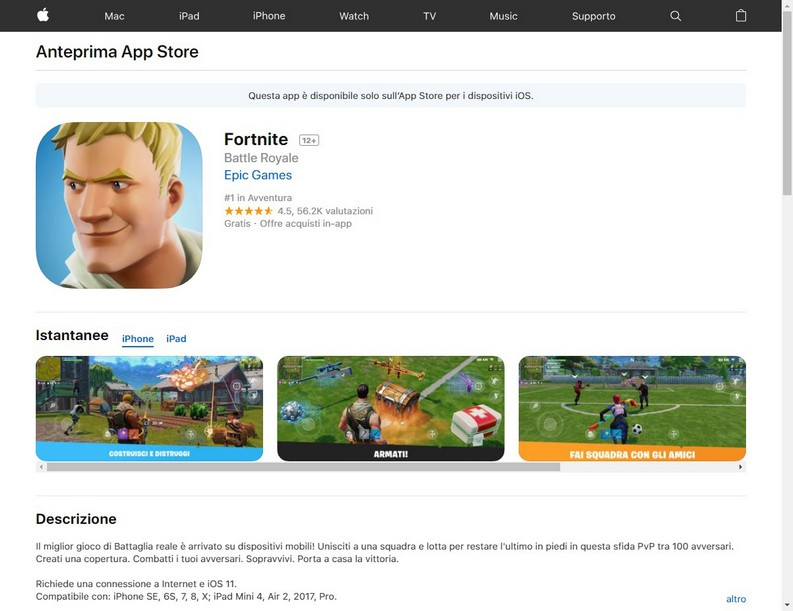 ‎Fortnite App Store e Android
