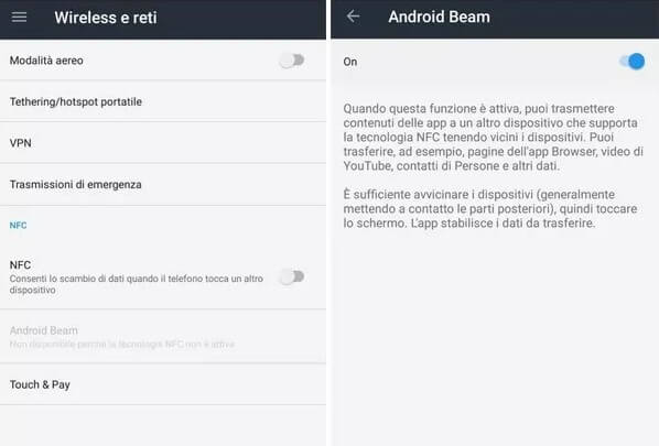 NFC android beam