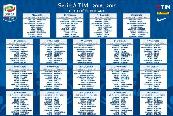 Calendario serie A 2018-2019