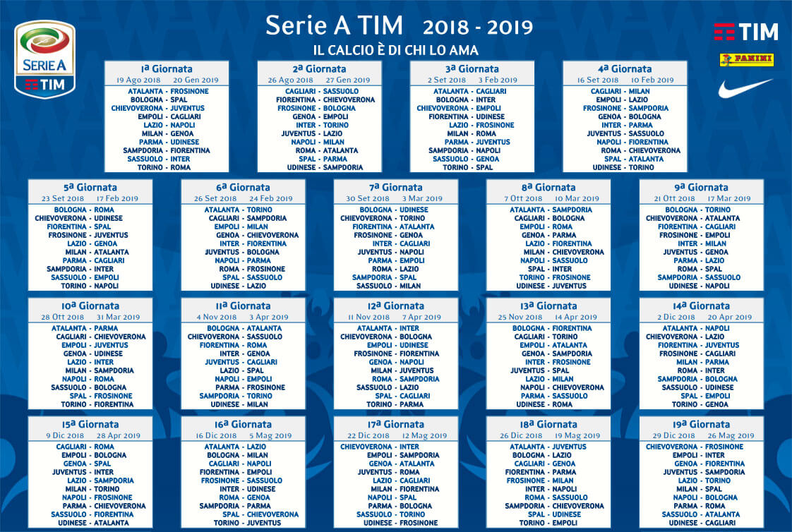 Serie A Tim Calendario.Calendario Serie A 2018 19 Tim