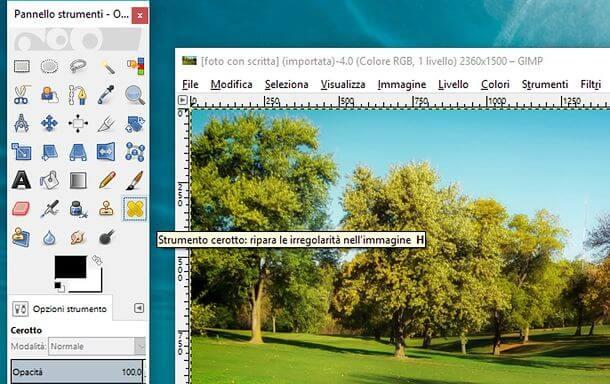 GIMP e rimozione di loghi e scritte da immagini