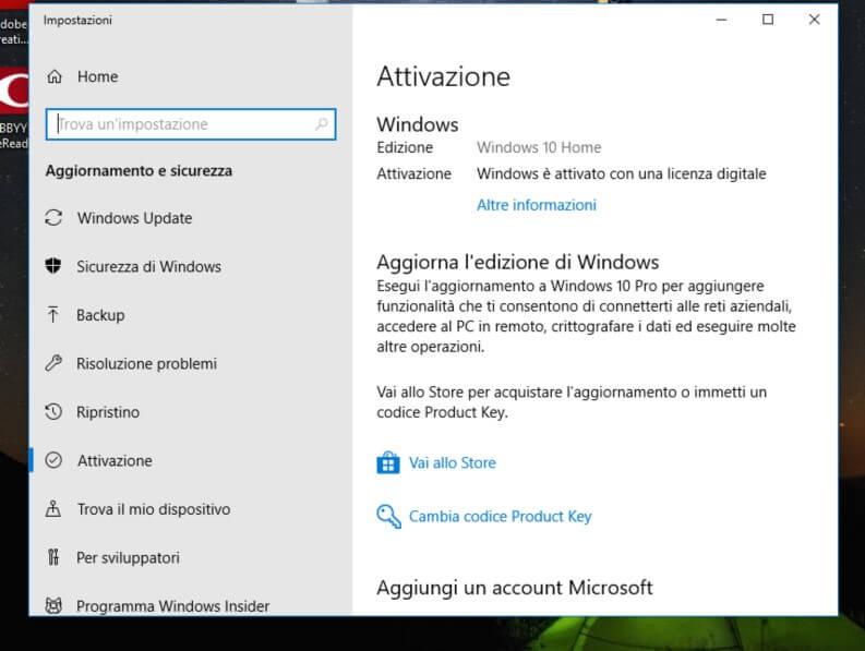 Attivazione Windows 10 tramite un Product Key