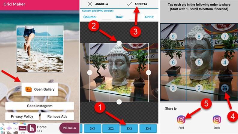 come creare mosaico instagram