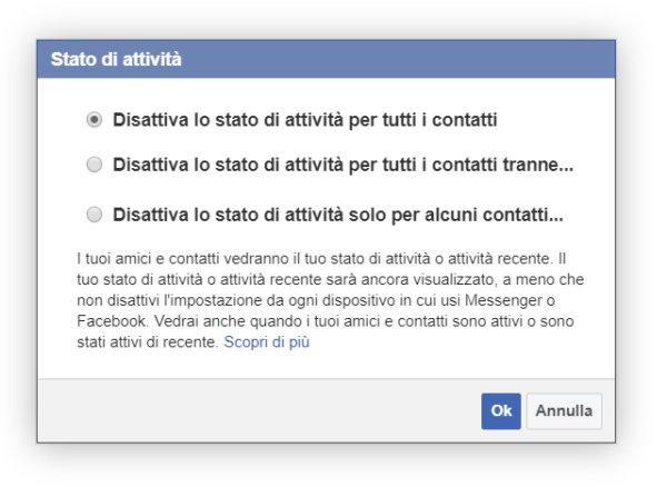 disattiva stato attività facebook