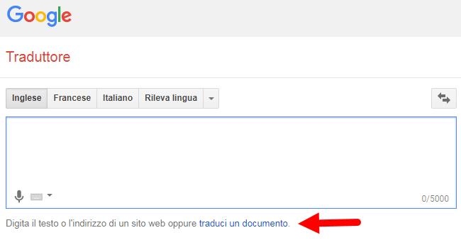 google traduttore traduci un documento