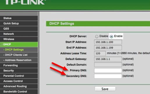 modificare dns router proprietario