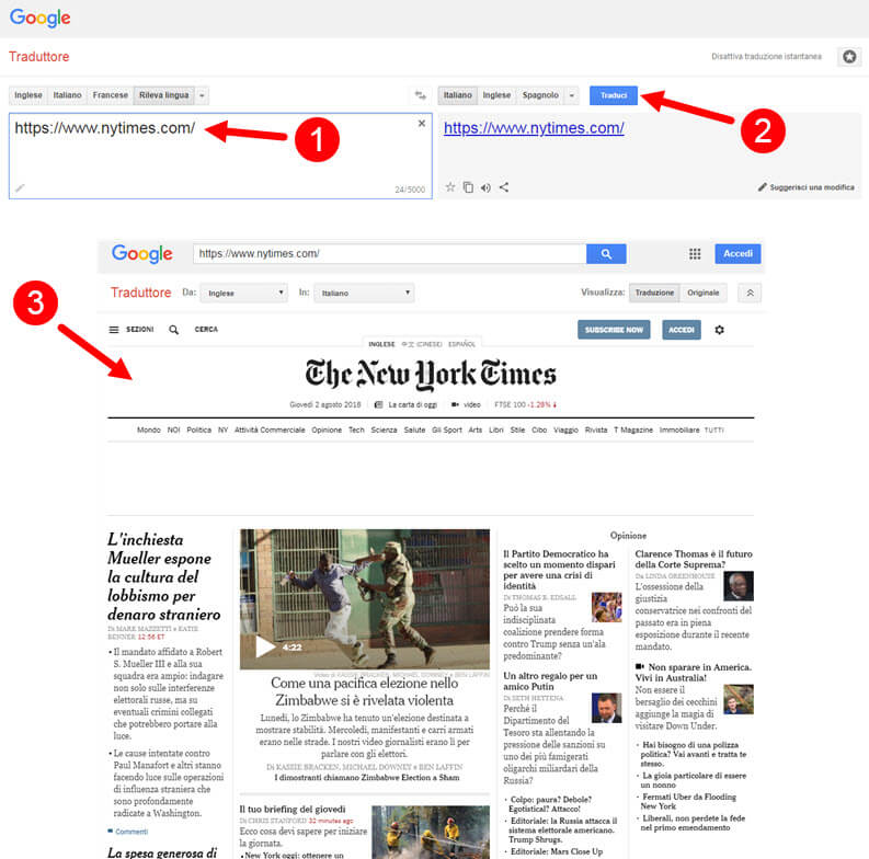 google traduttore: traduci una pagina web o sito