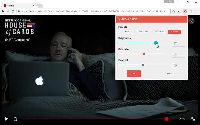 video adjust netflix estensione