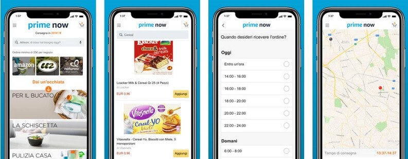 Spesa su Amazon: Prime Now