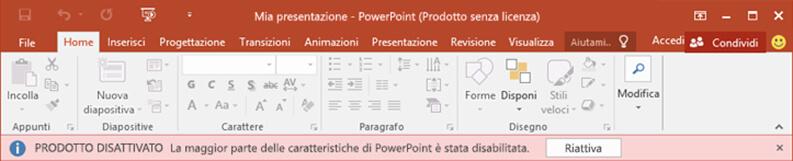 Prodotto Microsoft Office disattivato