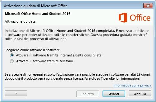 attivazione guidata Microsoft Office