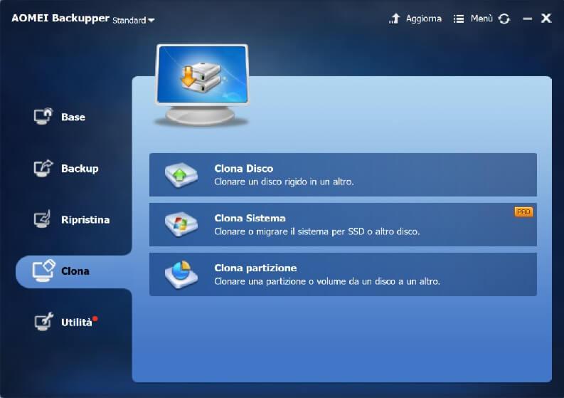 clonare un hard disk: AOMEI Backupper