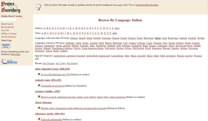 Libri PDF gratis con gutenberg