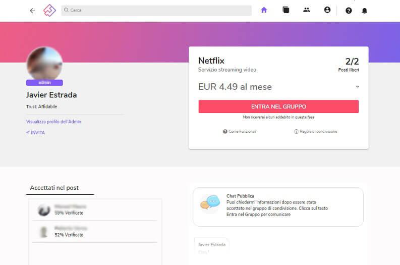 together price per condivisione account netflix