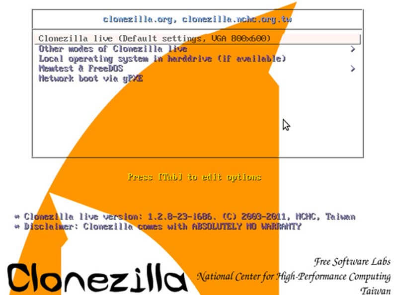 Clonare un hard disk: Clonezilla