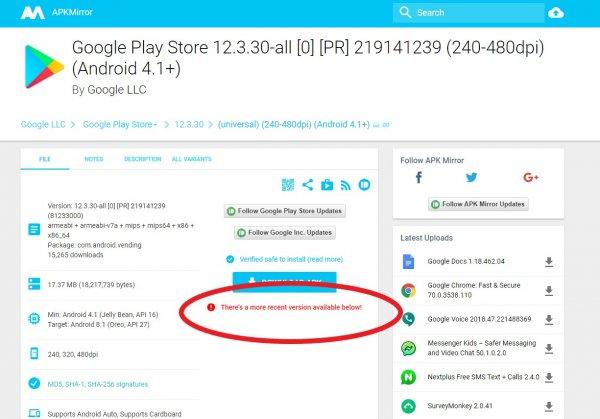 Scaricare ultima versione Apk Play Store