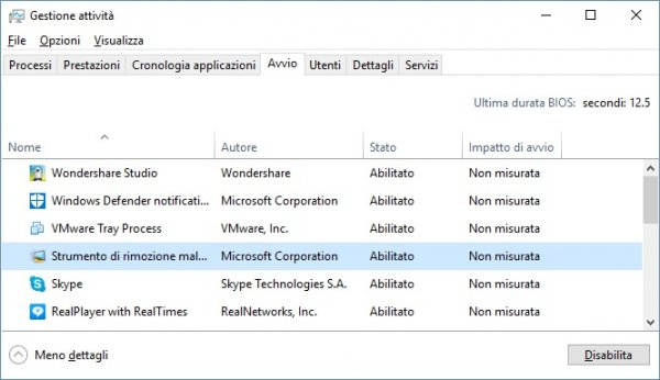 Disattivare programmi avvio Windows 10