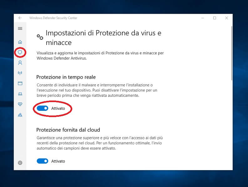 Disattivare Defender su Windows 10
