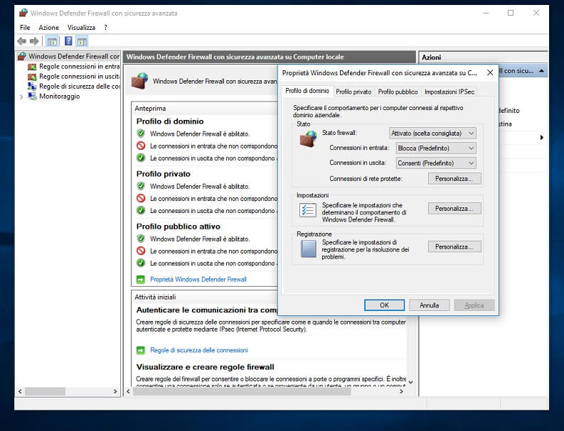 Disattivare Windows Firewall su Windows 10